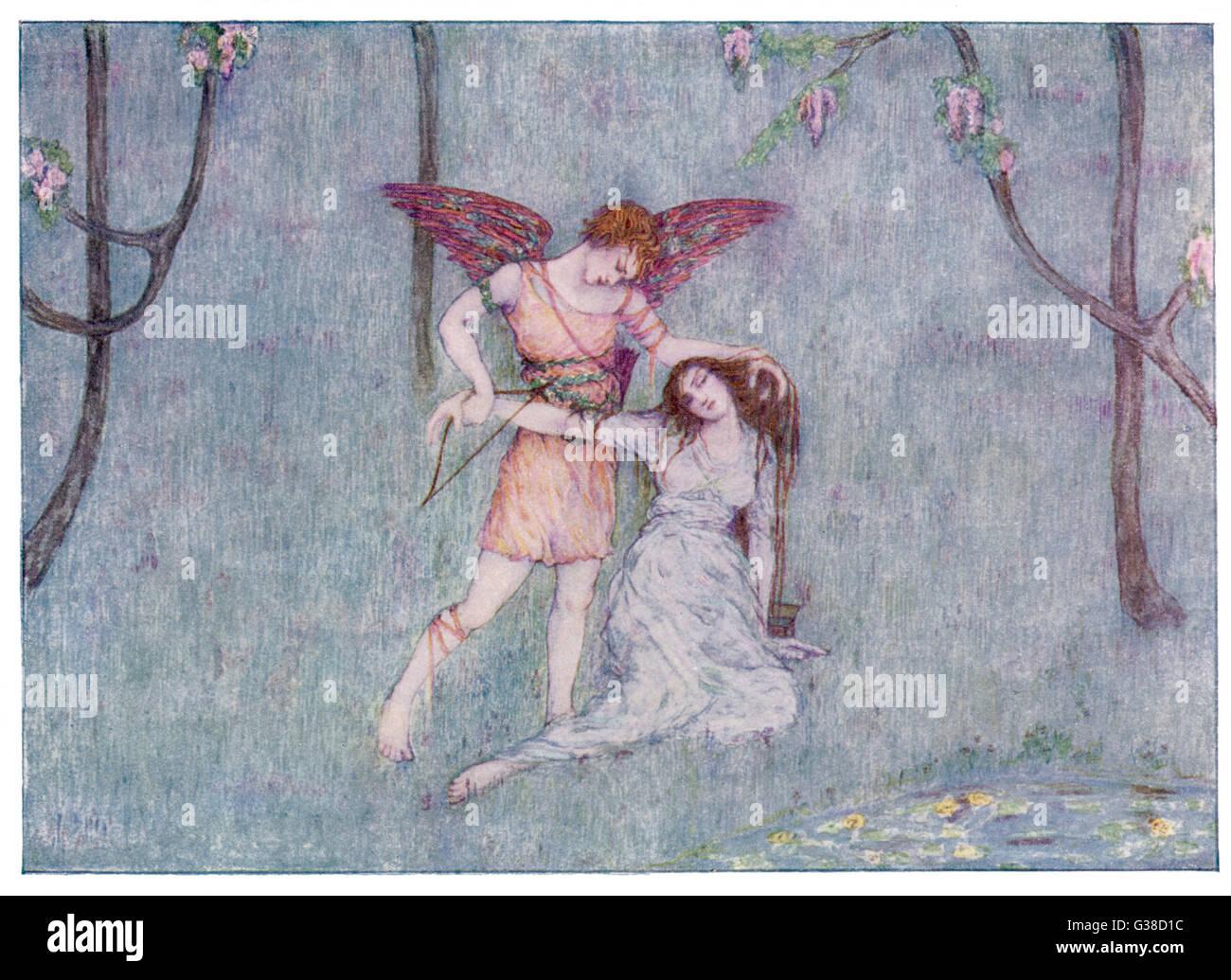 Eros/Cupid wakes Psyche         Date: 1914 - Stock Image