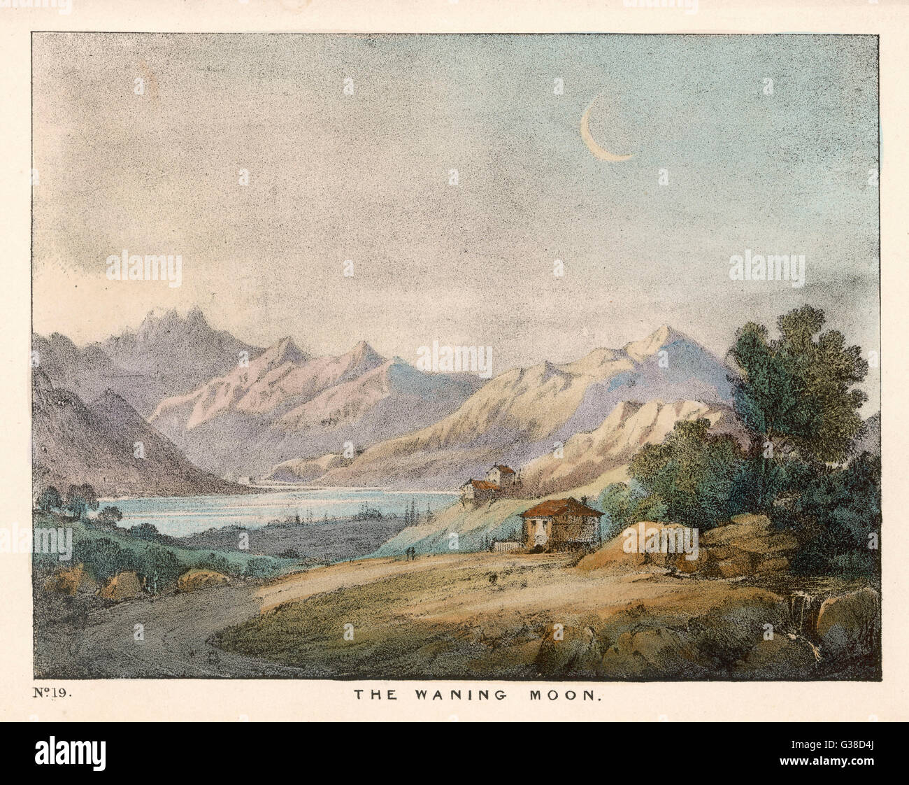 The waning moon shown over a  mountainous landscape.        Date: 1849 - Stock Image