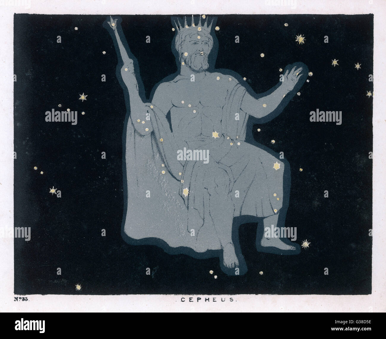 The constellation of Cepheus  which takes the form of a  'regal personage, seated,  having a diadem on his head, - Stock Image