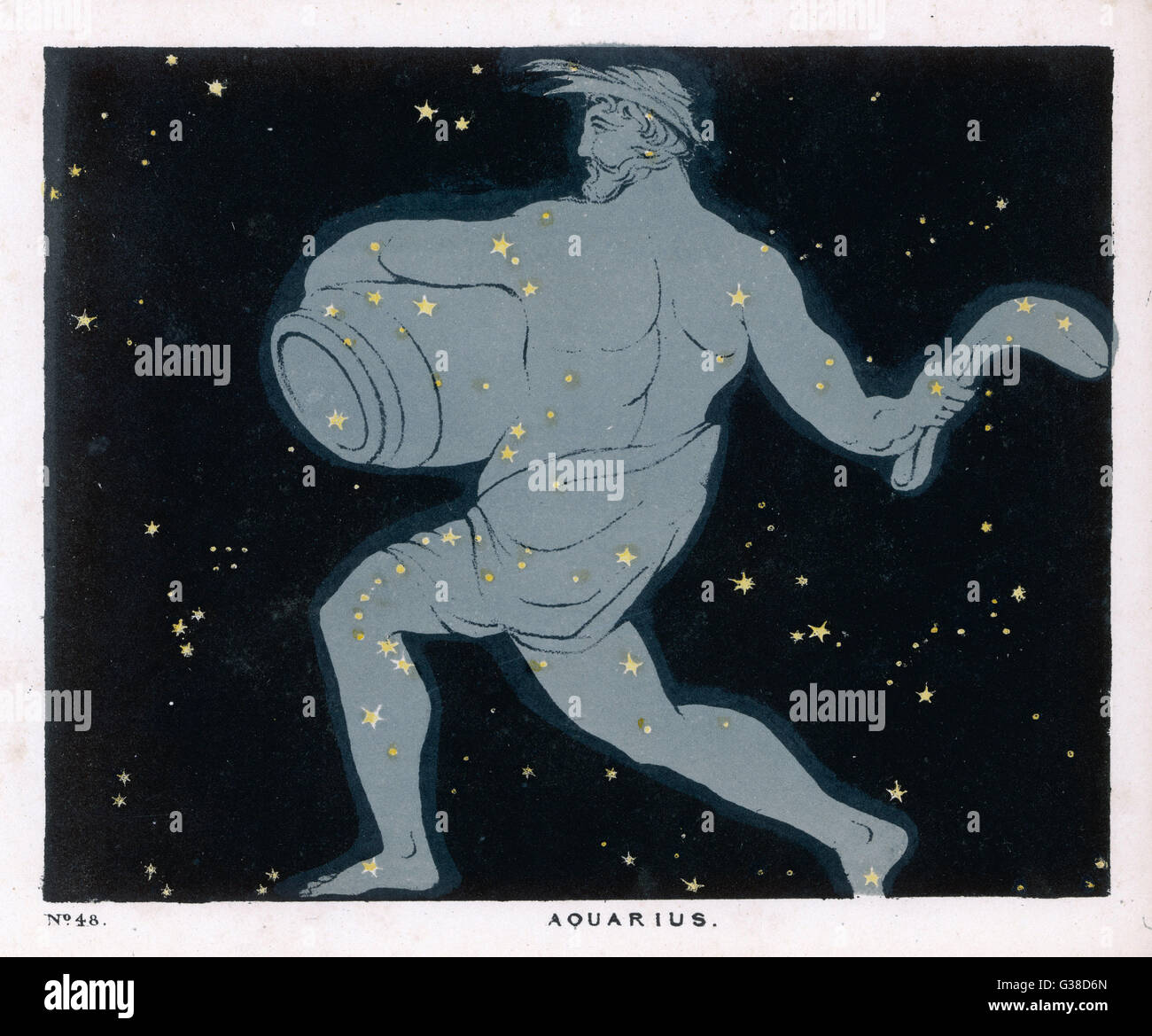 The constellation of  Aquarius, a figure of a man  carrying a jar of water.       Date: 1849 - Stock Image