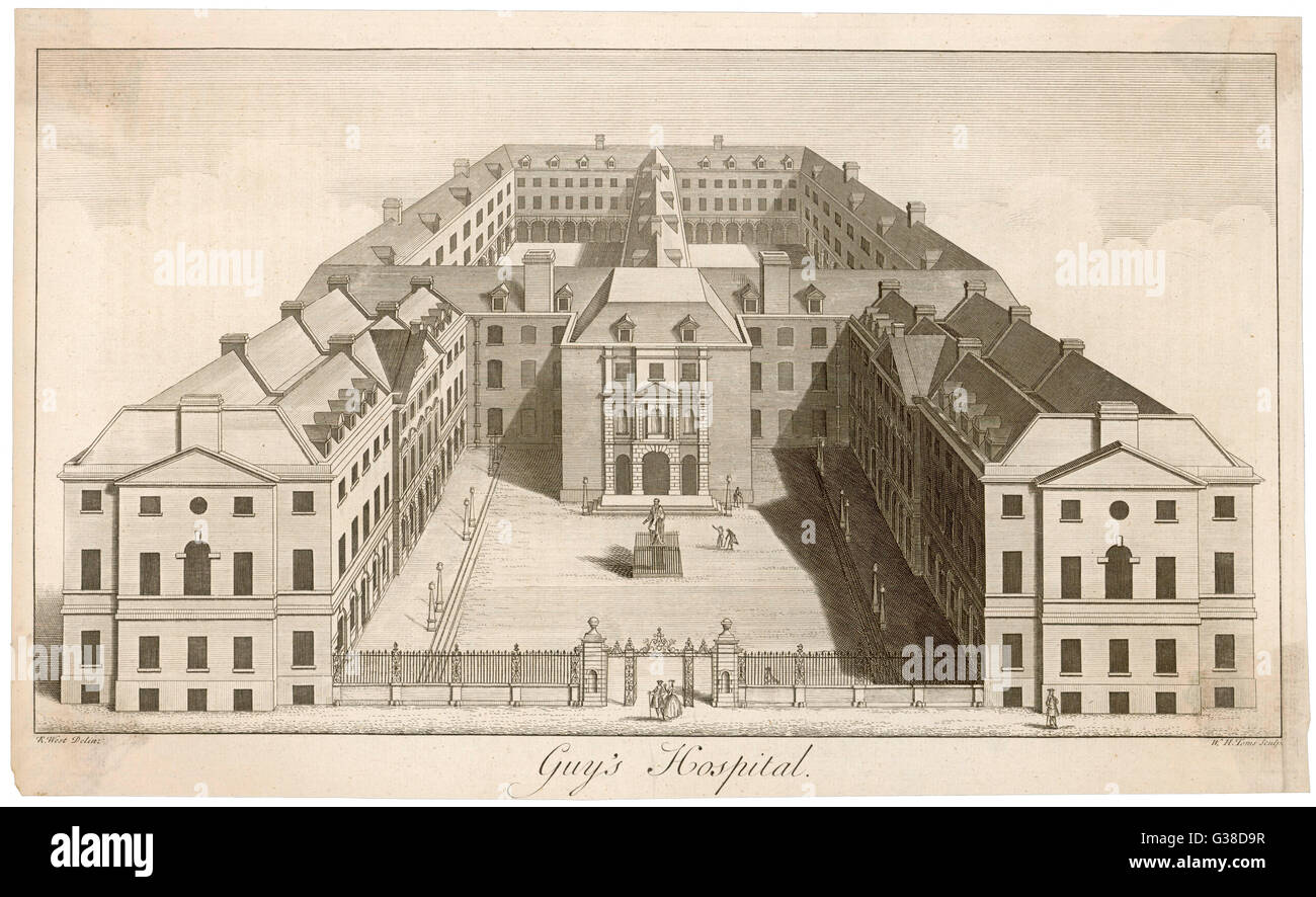 A general external view of the  buildings which make up Guy's  Hospital.       Date: Mid 18th century - Stock Image