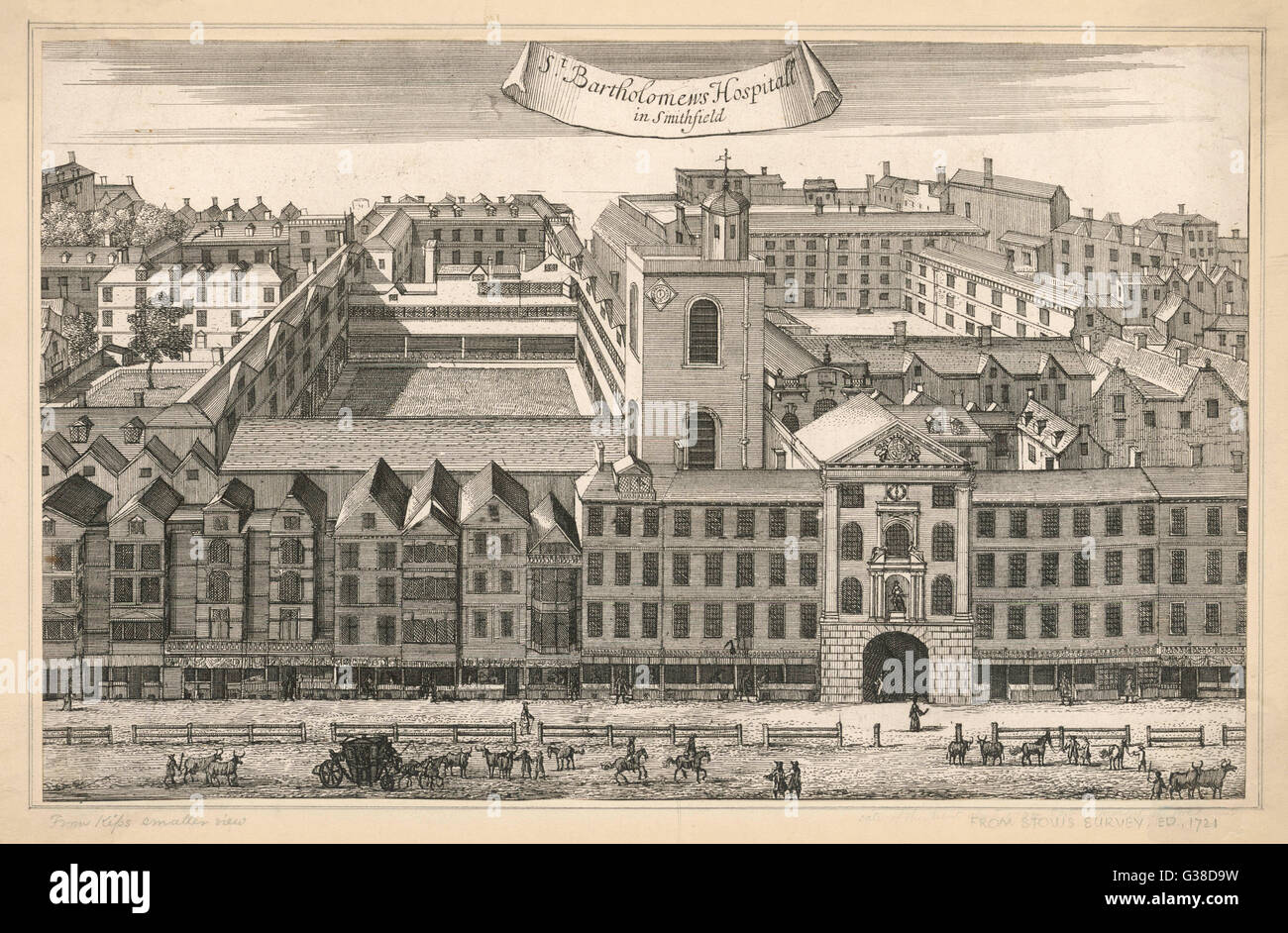 A general external view of the  buildings which make up  Saint Bartholomew's Hospital  in Smithfield, London. - Stock Image