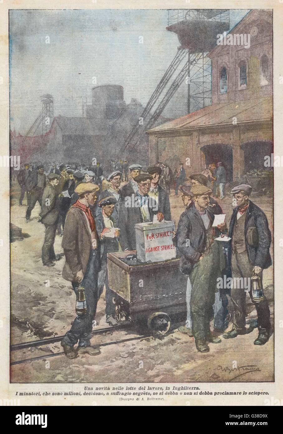 After a secret ballot, British  miners decide to go on strike        Date: September 1920 - Stock Image