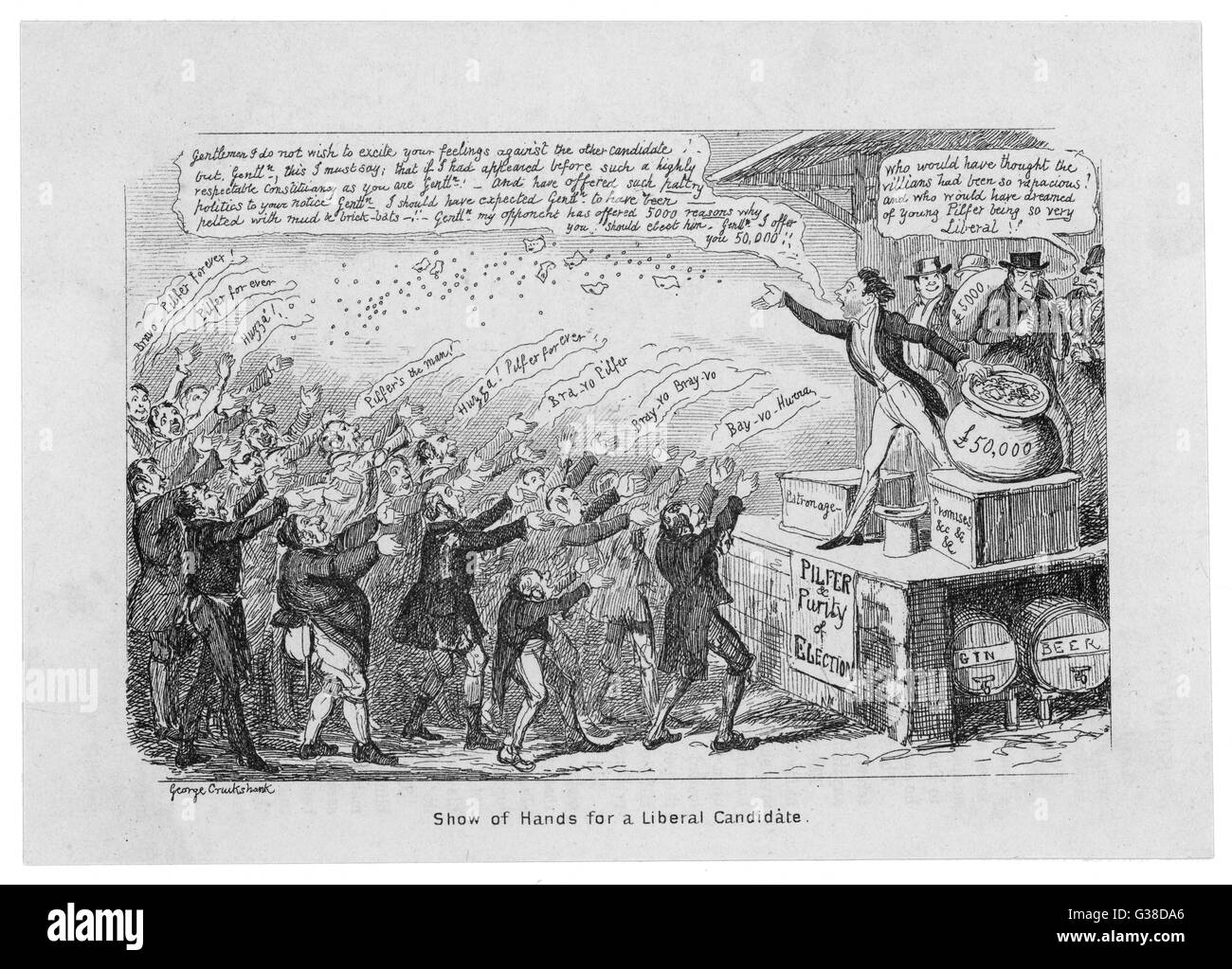 A Cruikshank satire on  elections and electoral  candidates.       Date: 19th century Stock Photo