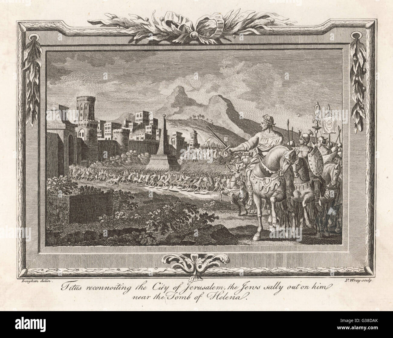 Titus at Jerusalem: the Jews,  besieged, sally out on him near  the Tomb of Helena       Date: 70 AD - Stock Image