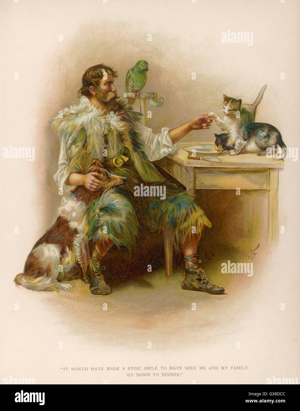 Crusoe with his 'family' of  domesticated animals.         Date: First published: 1719 - Stock Image