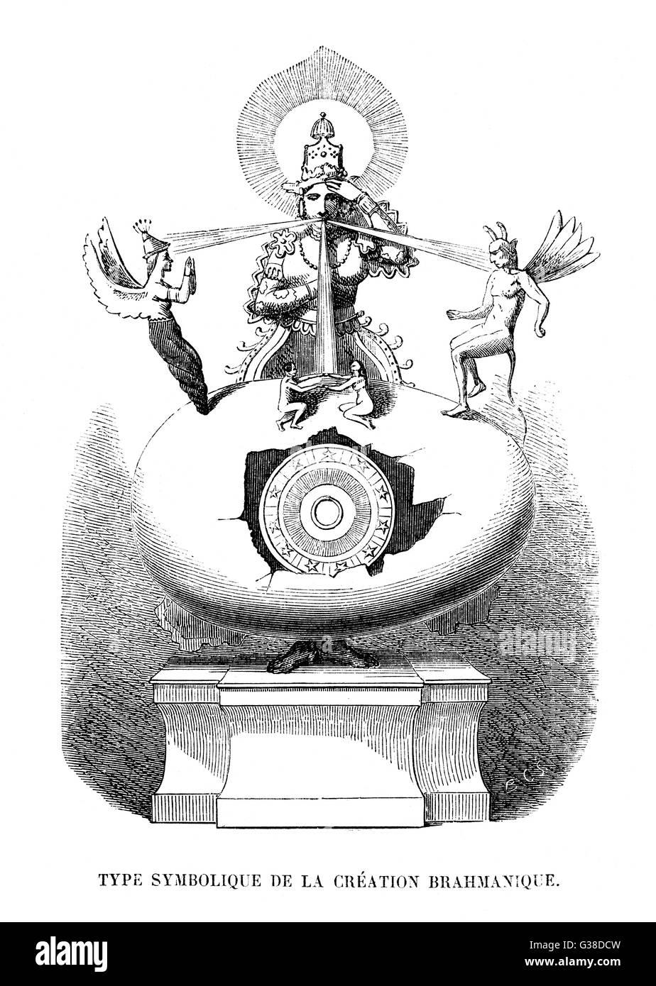 Symbolic depiction of the  Hindu (Brahman) CREATION myth. - Stock Image