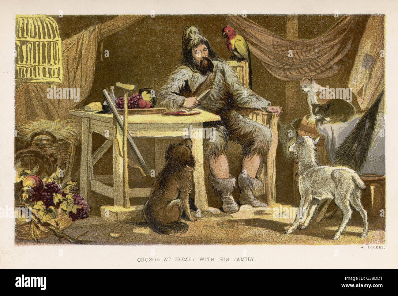 Robinson Crusoe with his  family of domesticated  animals.        Date: First published: 1719 - Stock Image