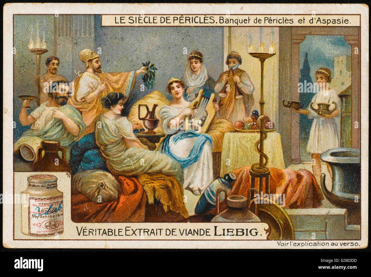 A banquet in the time of  Pericles, 5th century BC         Date: circa 500 BC - Stock Image