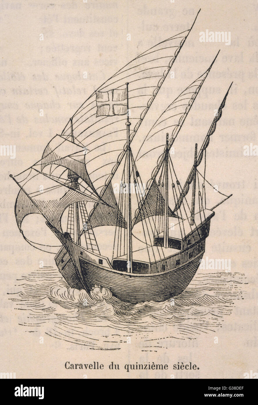 A caravel in full sail          Date: 15th Century - Stock Image