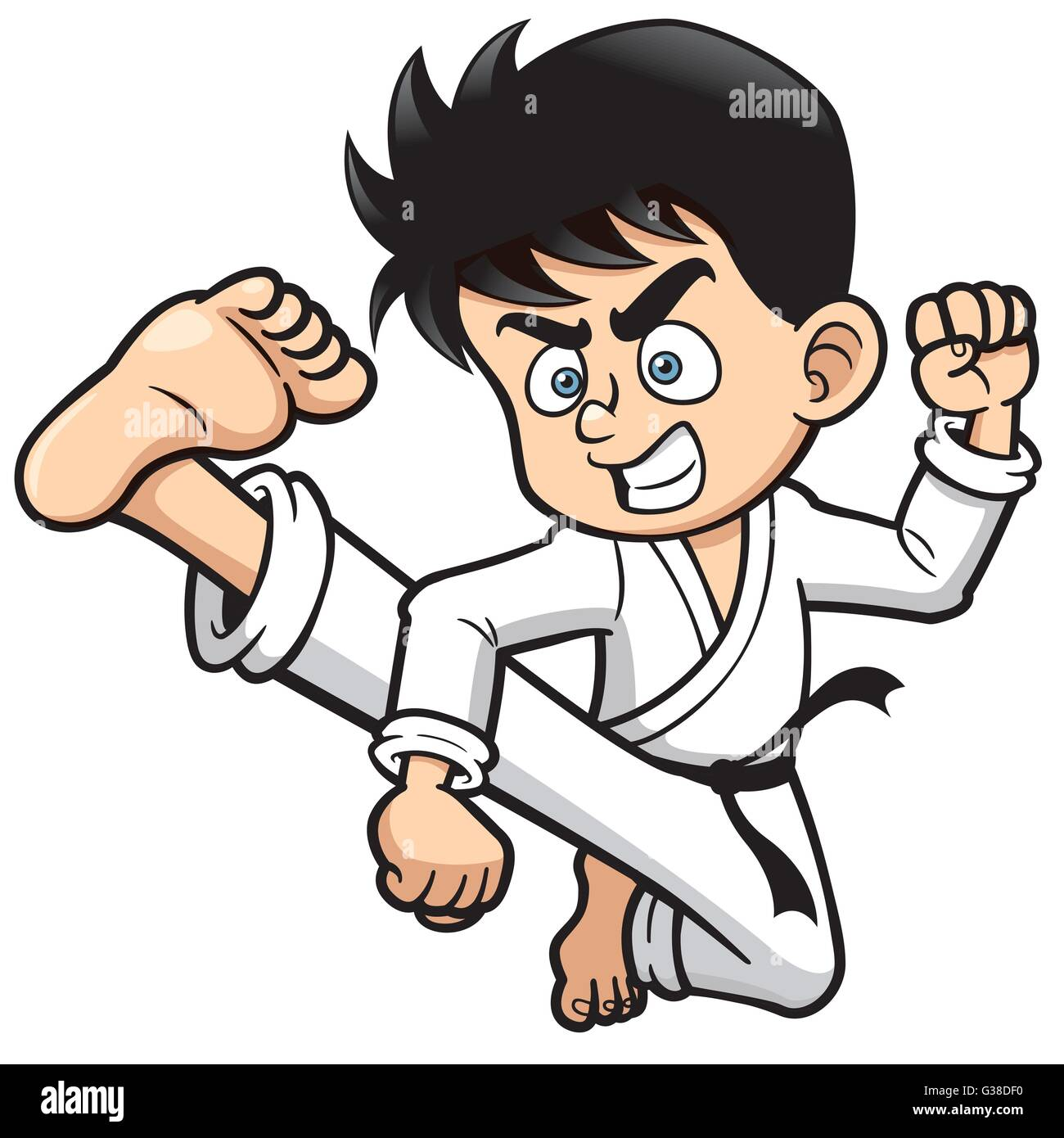 Vector illustration of Cartoon Boy Karate kick Stock ...