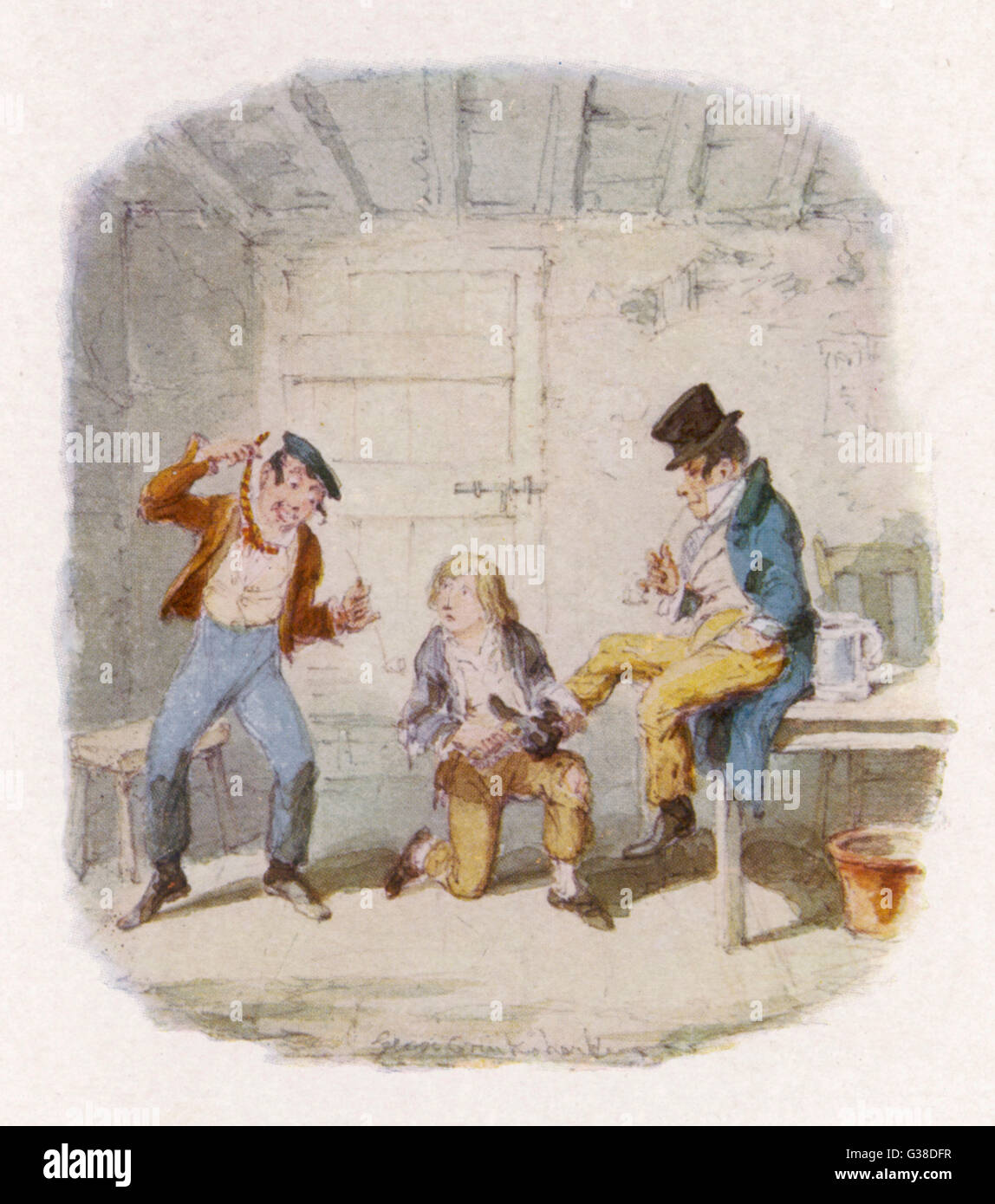 The Artful Dodger and an  accomplice teach Oliver how to  pickpocket.        Date: First published: 1836-37 - Stock Image