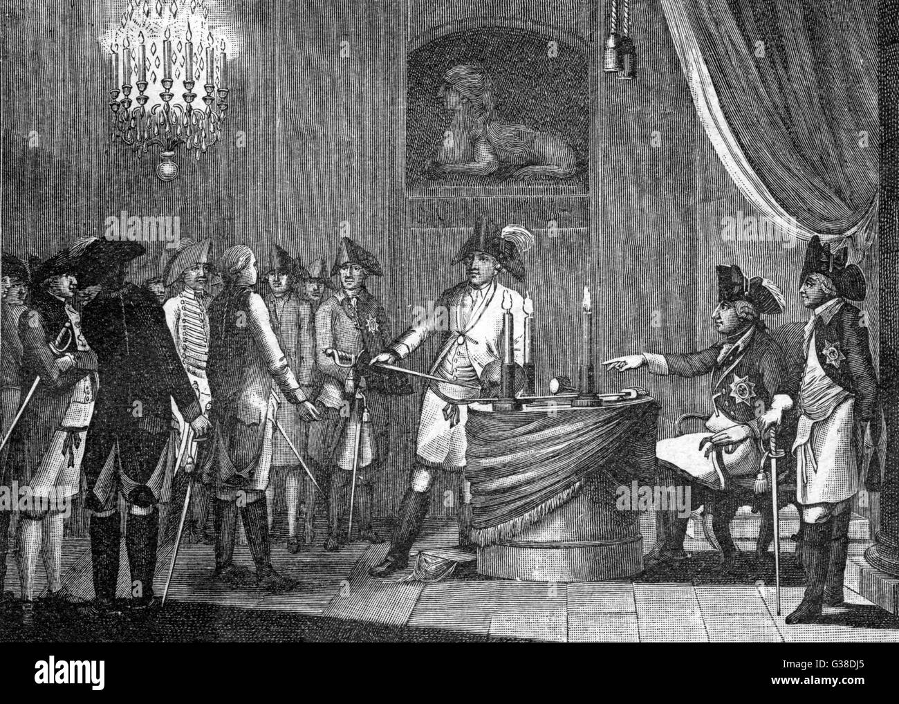 Friedrich II ('der Grosse') is  received into the Order of  Freemasons        Date: circa 1750 - Stock Image
