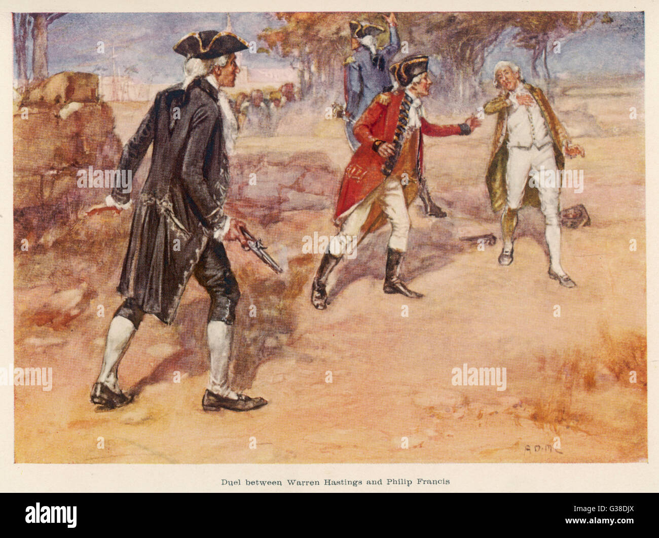 HASTINGS v FRANCIS Warren Hastings wounds his  opponent Philip Francis, in  India       Date: 17 August 1780 - Stock Image