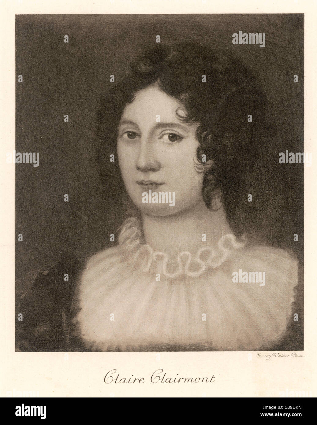 CLAIRE CLAIRMONT  stepdaughter of William  Godwin, and mother of Byron's  daughter Allegra      Date: 1798  - Stock Image