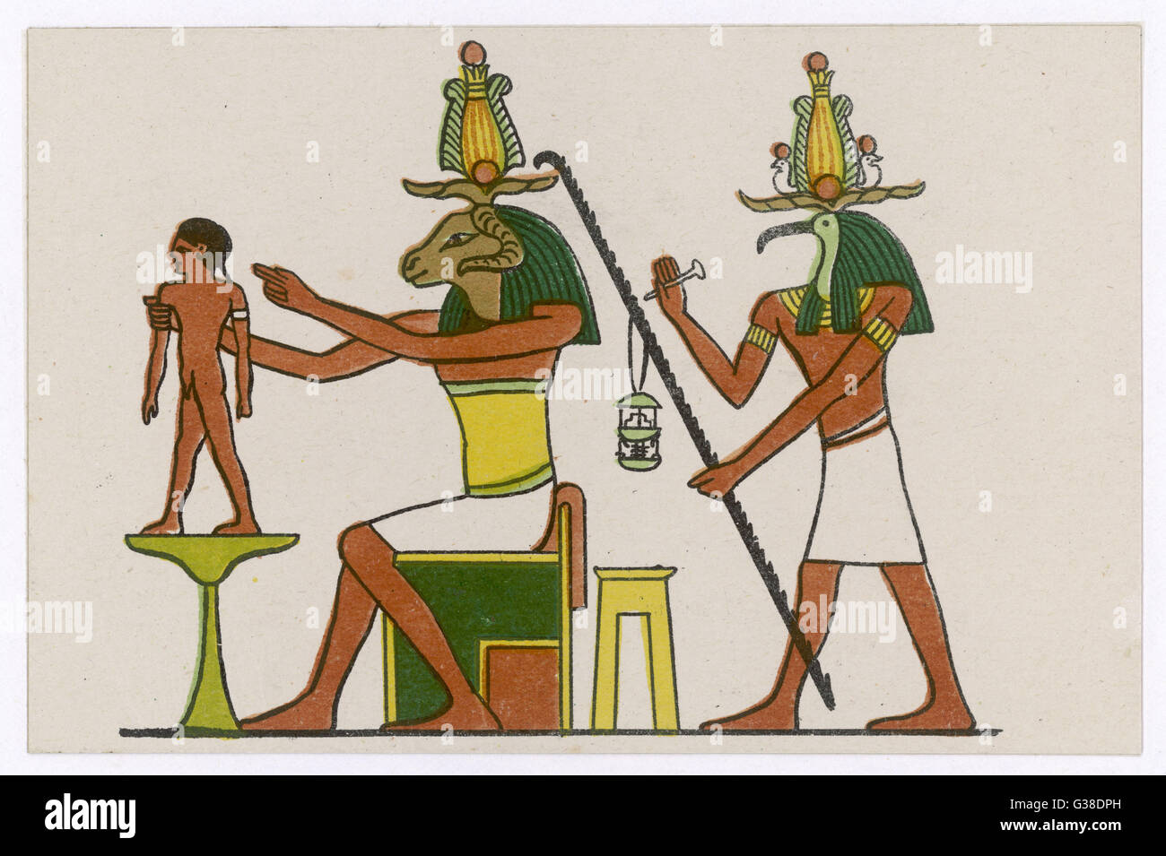 The ram-god KHNUM is the  creator of life, which he does  on his potter's wheel, while  Thoth measures the span - Stock Image