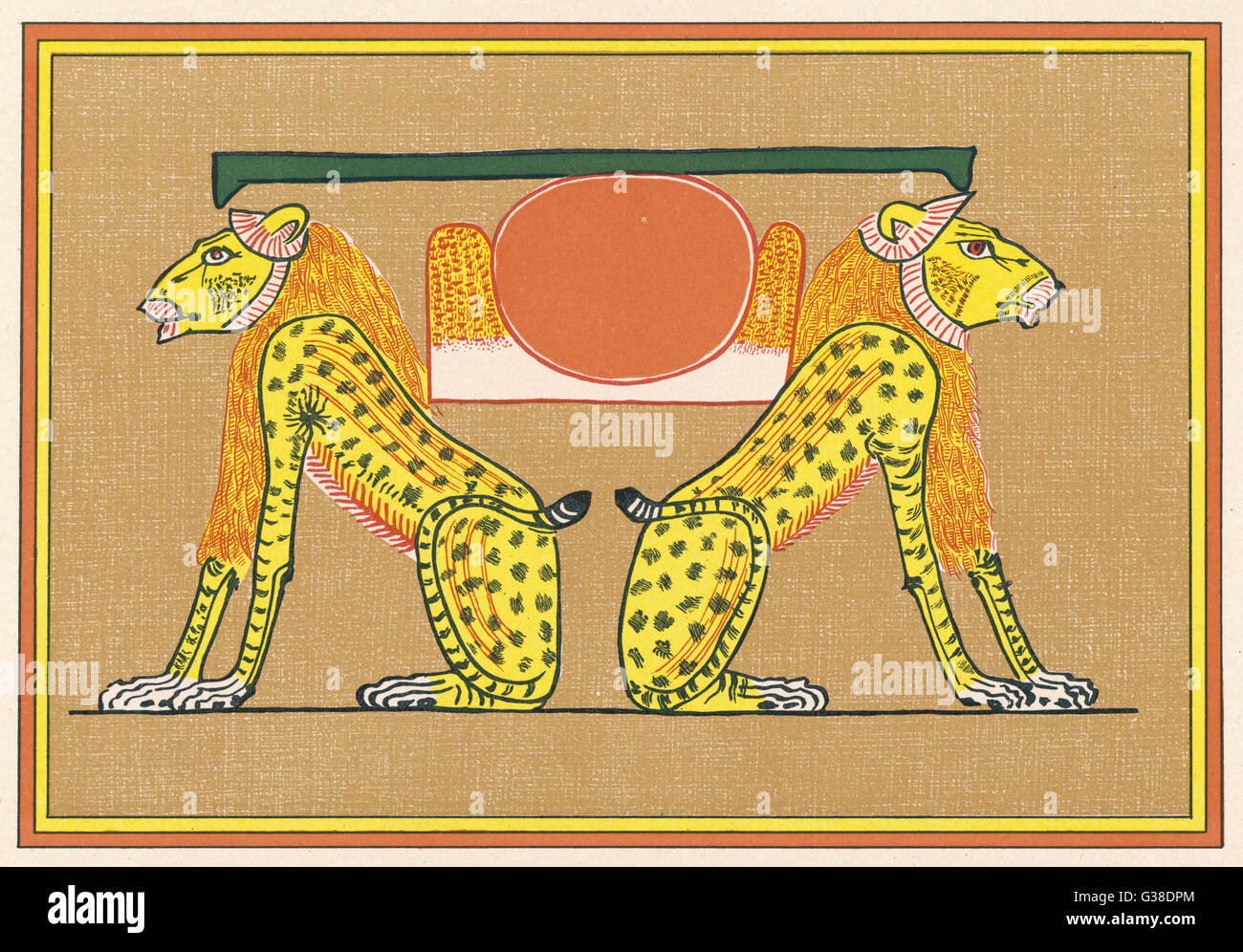 The AKERU, a pair of lion- gods, represent Past &  Present, Yesterday and Today,  in the Egyptian cosmology - Stock Image