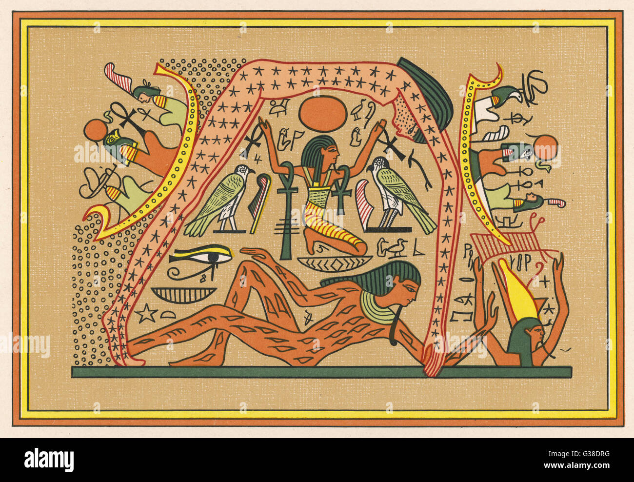 The supreme Earth-God : his  union with his sister NUT  produced the other gods. He is lying on the ground,  with - Stock Image