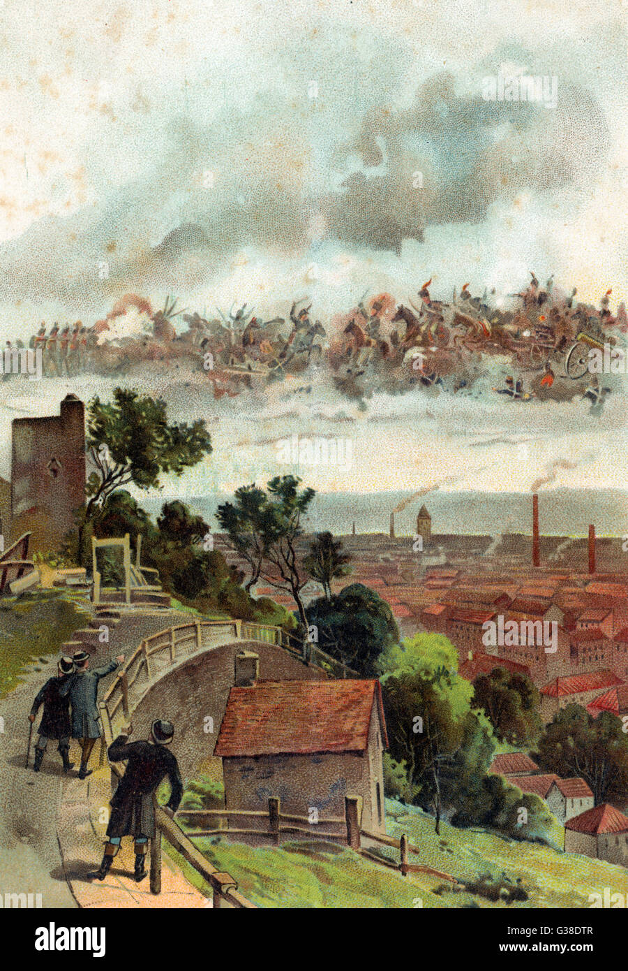 A VISION OF WATERLOO ? The inhabitants of Verviers, a  Belgian town not too far from  Waterloo, see a battle in - Stock Image