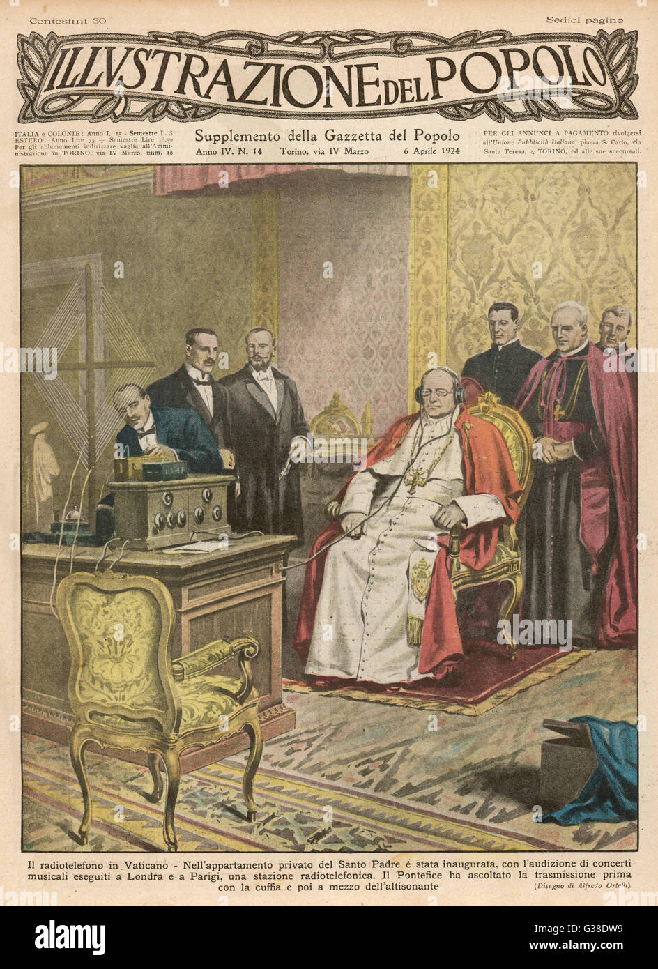 Pope Pius XI listens to the  radio broadcast of a concert        Date: March 1924 - Stock Image