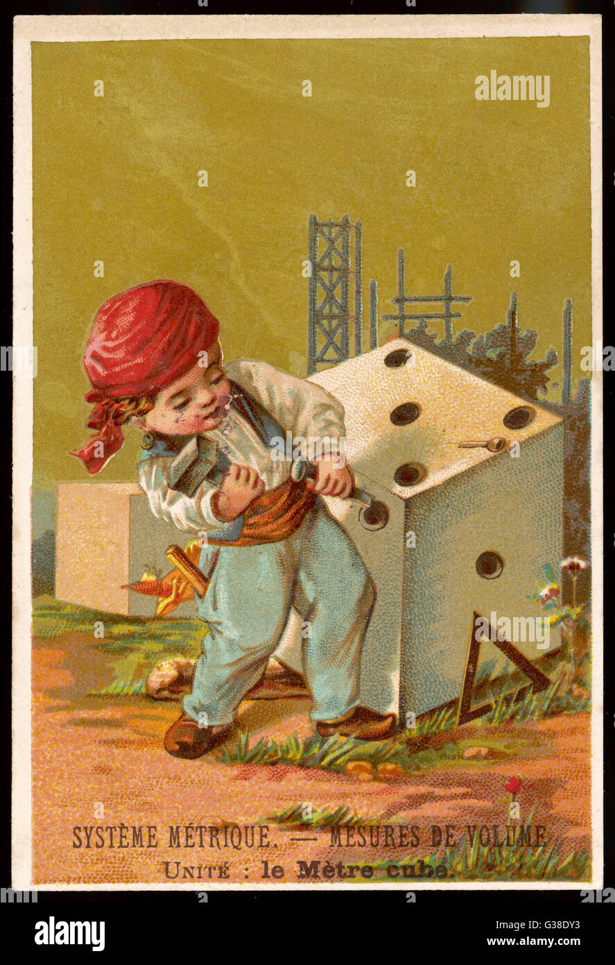 Volume - a cubic metre         Date: circa 1880 - Stock Image
