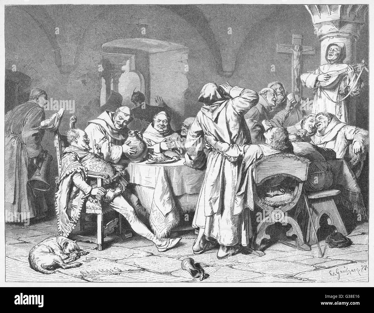 German monks entertain a  visitor with the wine of the  cloister, while one of their  number accompanies the revelry - Stock Image