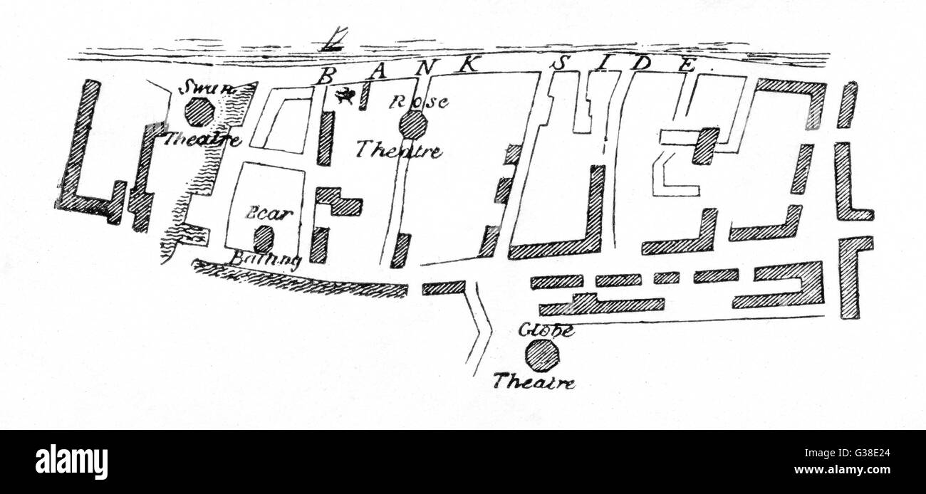 A map of Bankside showing  location of the theatres  during the Elizabethan/  Jacobean period.      Date: c1600 - Stock Image