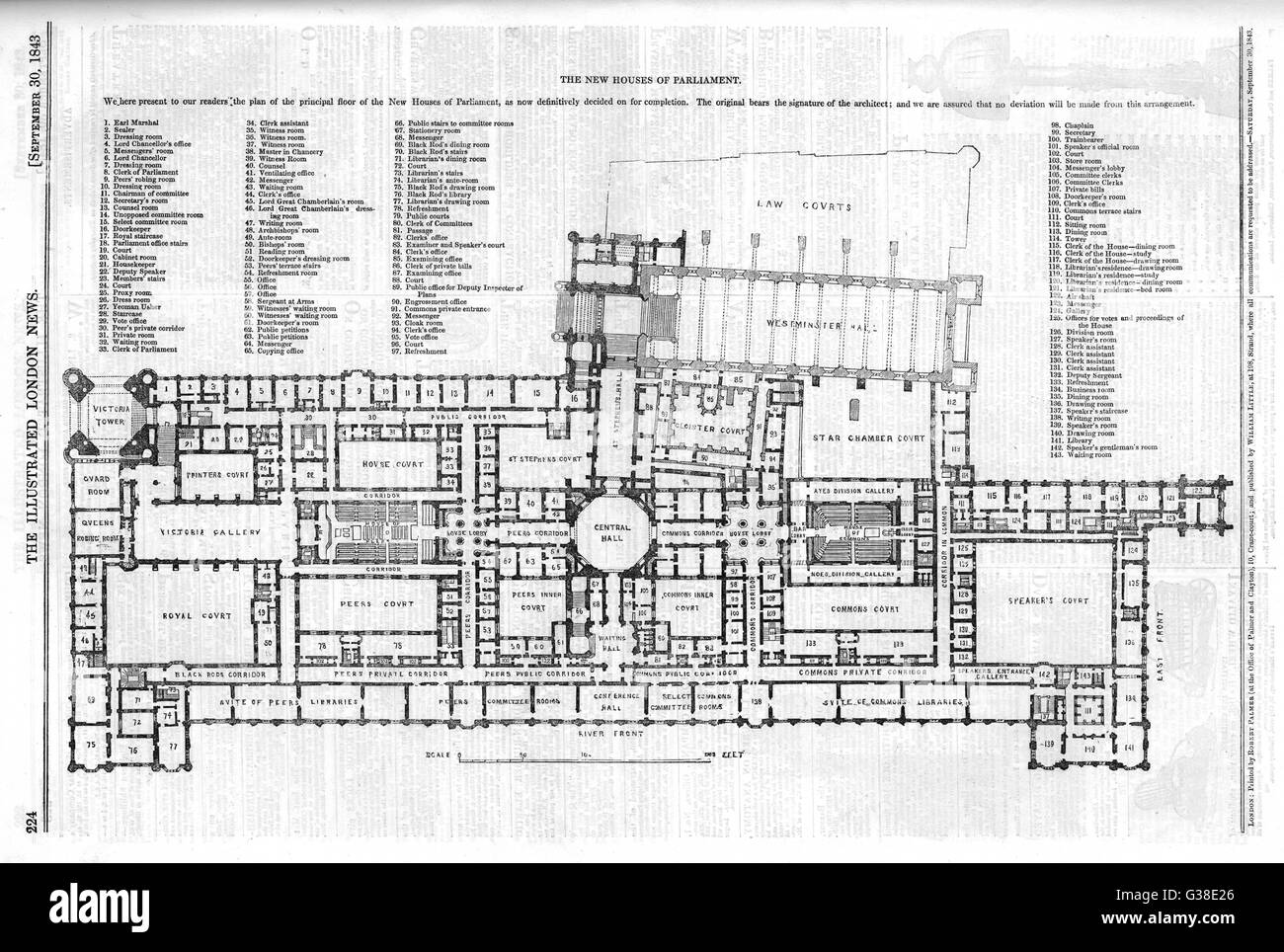 Plan of the principal floor of  the new Houses of Parliament        Date: 1843 Stock Photo