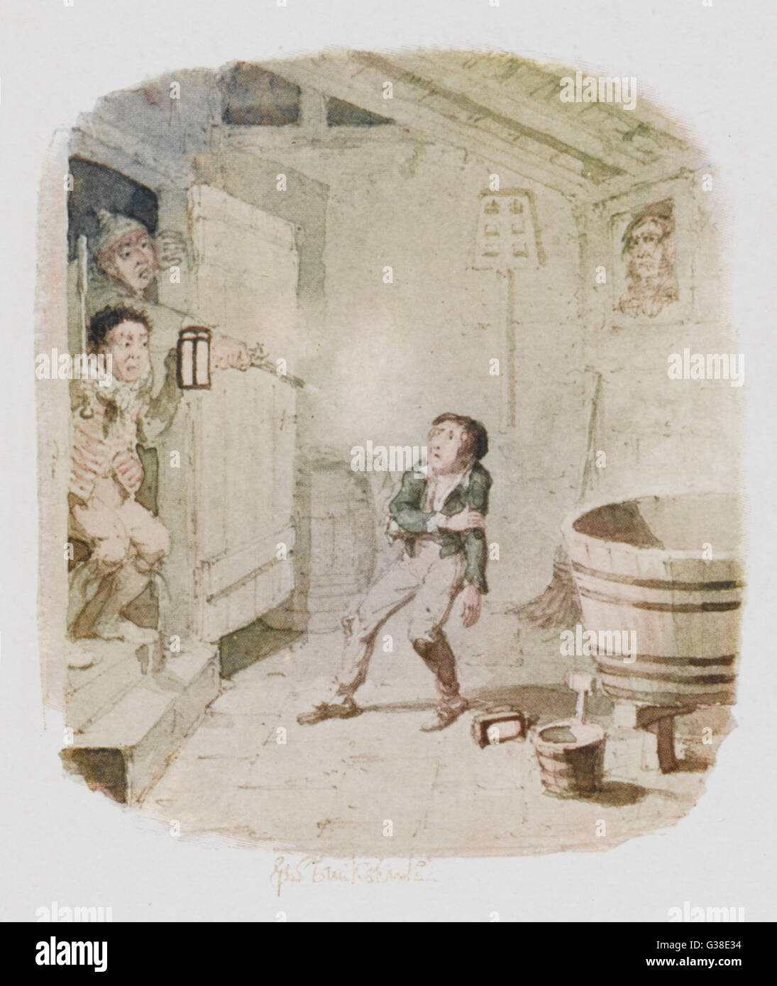 The burglary.          Date: First published: 1836-37 - Stock Image