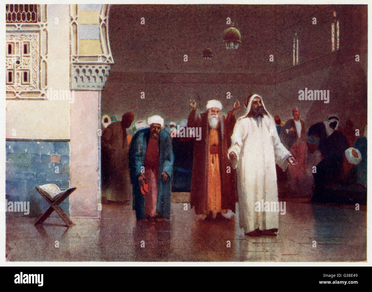 Egyptian Moslems at prayer  in a mosque        Date: 1904 - Stock Image