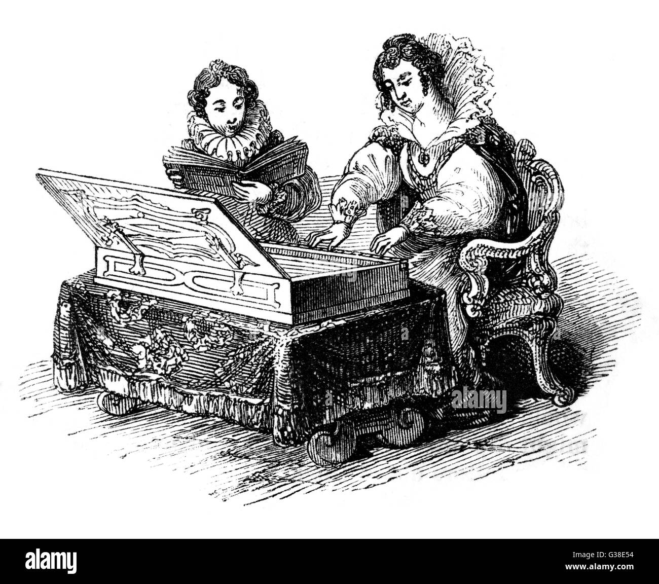 A virginal being played          Date: 16th/17th century - Stock Image