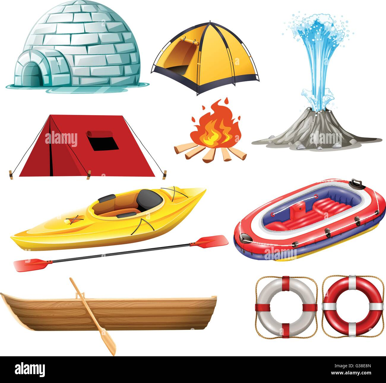 Different objects for camping and hiking illustration - Stock Image
