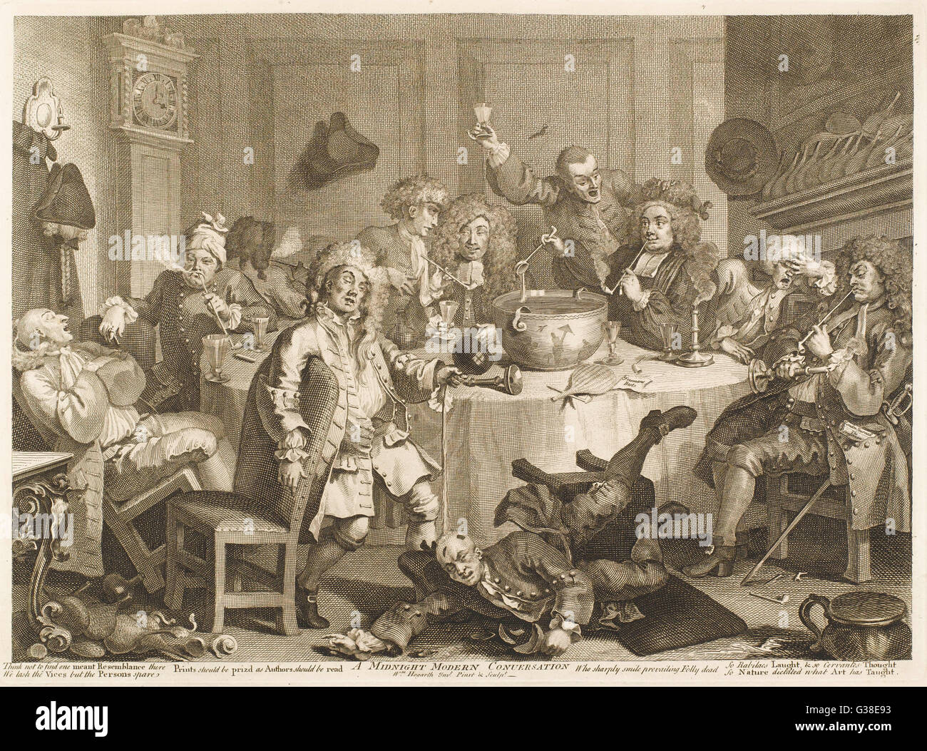 A Midnight Modern Conversation  A very drunken party of men        Date: circa 1740 - Stock Image