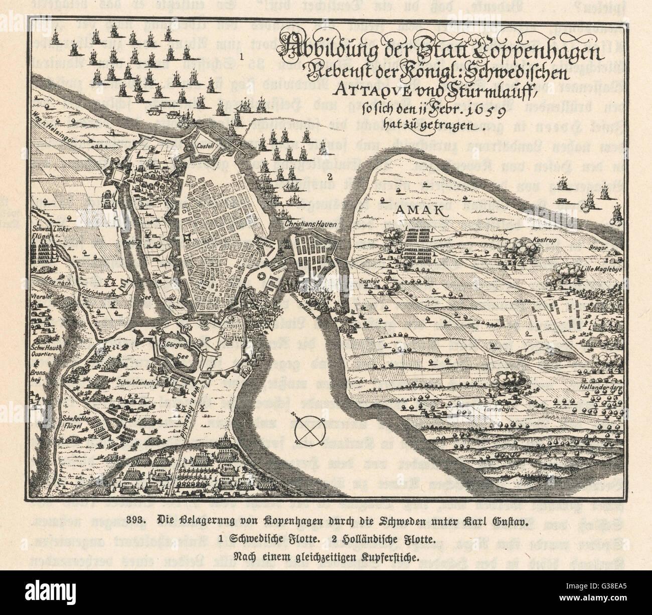 Map of the siege of  Copenhagen, Denmark by Carl X  Gustav of Sweden.        Date: 11 February 1659 - Stock Image