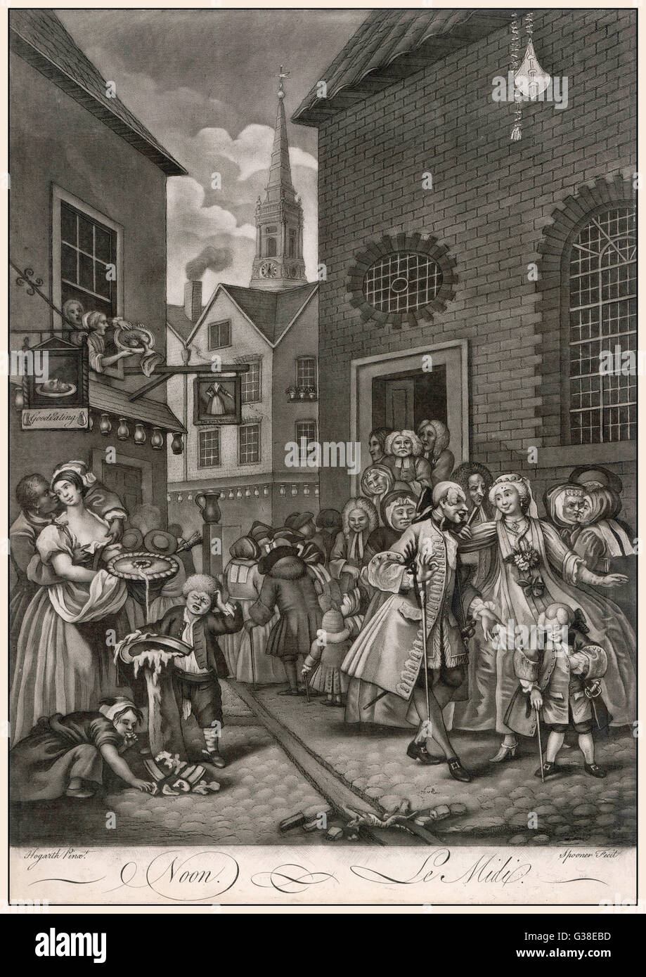 2.  Noon  Huguenot refugees attend  chapel, opposite an eating  house - St Giles in the Field  is visible in the - Stock Image