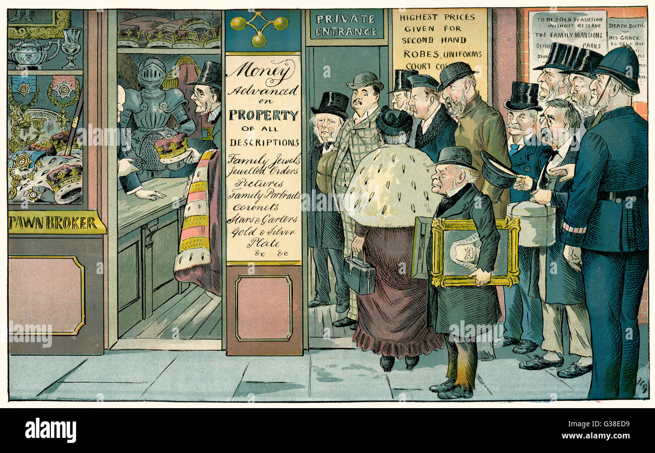 Cartoon, The Poverty of Riches, depicting aristocrats queueing outside a pawnbroker's shop to sell their unwanted - Stock Image