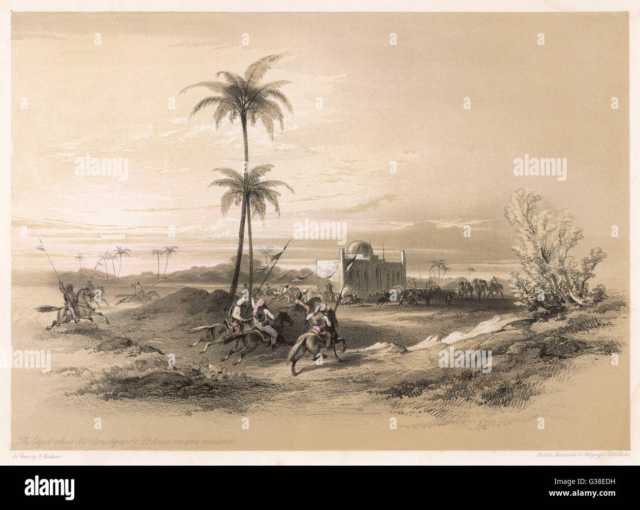 Multan (Mooltan) -  the scene of the murder of  Vans Agnew and Lt. Anderson (the Eedgah)      Date: 1848 - Stock Image