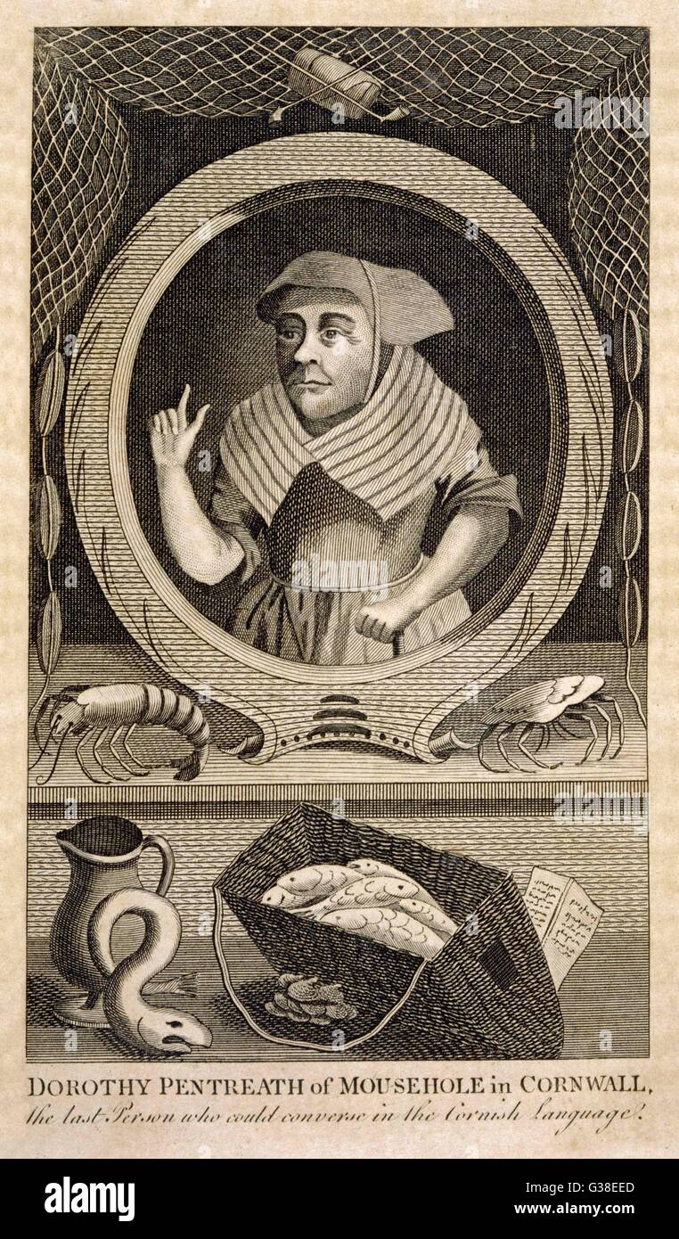 DOROTHY JEFFREY (nee Pentreath)  Allegedly the last speaker of  Cornish.      Date: 1685 - 1777 - Stock Image