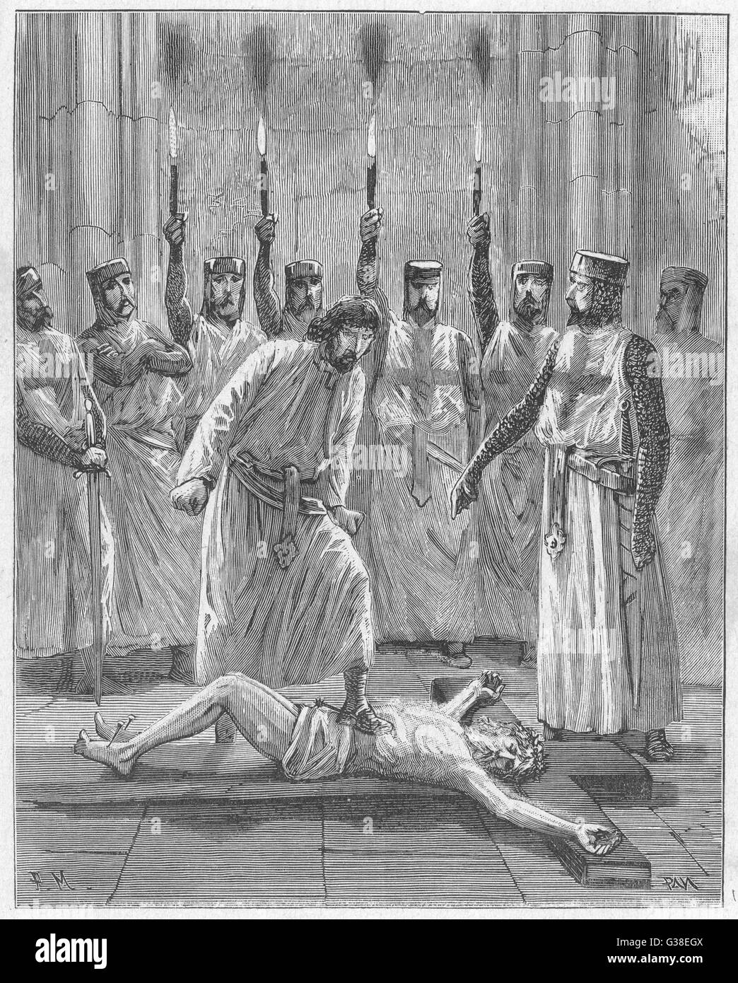 According to the historian  Michelet, each Templar recruit  was required to spit or  trample on the Crucifix, as - Stock Image
