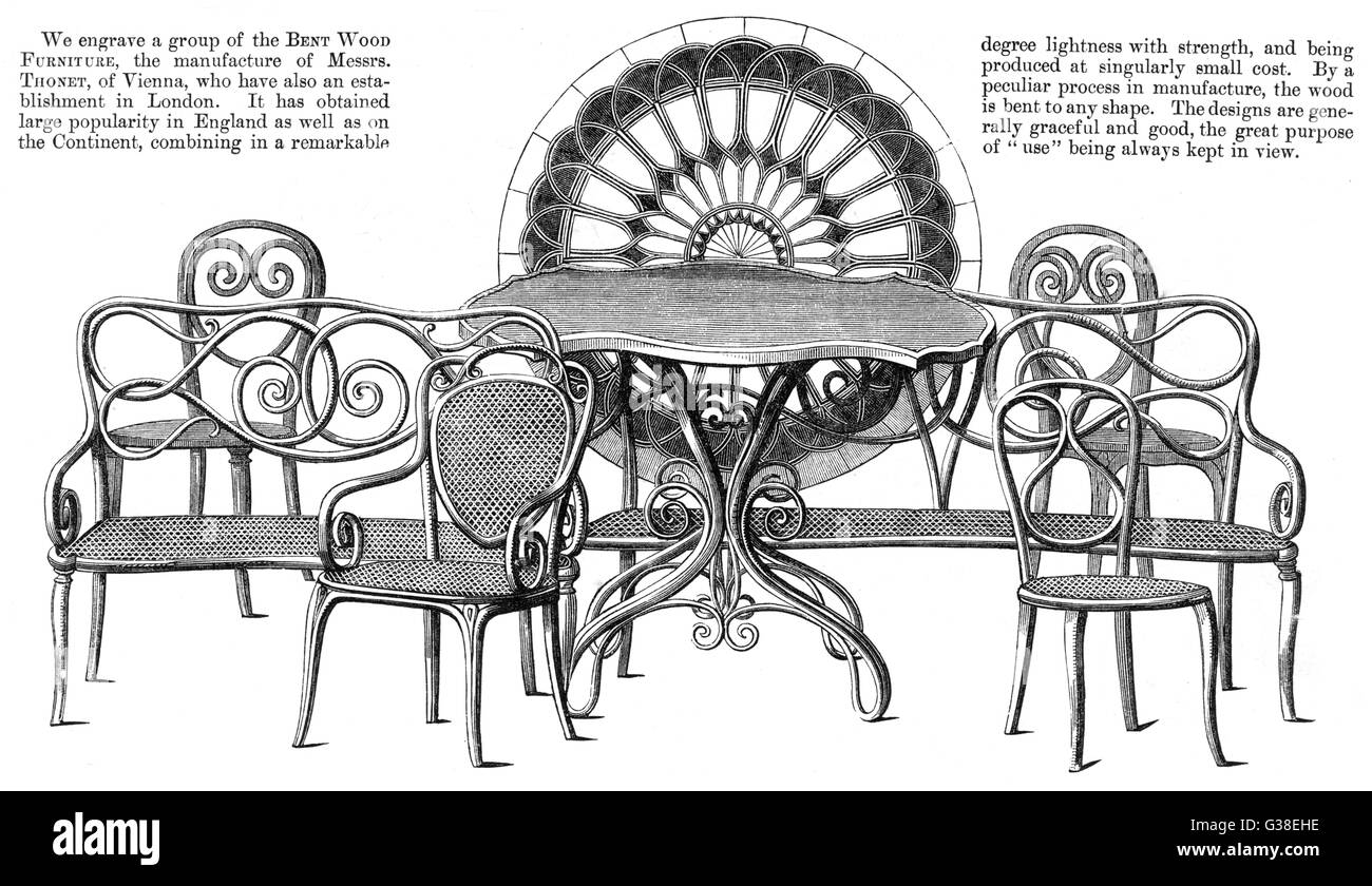 Chairs And Other Bentwood Furniture Exhibited By THONET Of Vienna At The  1862 London Exhibition Date