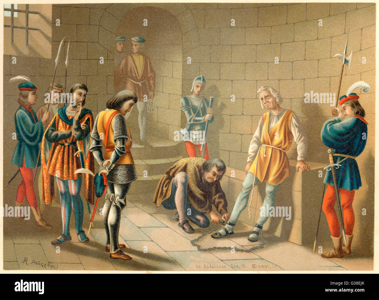 Columbus, arrested by the  governor, Bobadilla, for  insubordination.        Date: 15 November 1500 - Stock Image