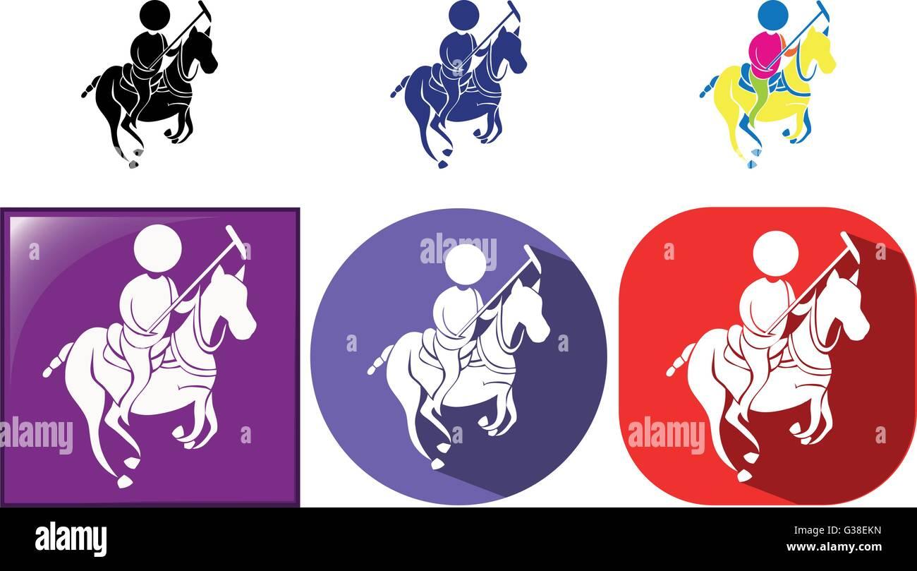 Sport icon for esquestrian in three designs illustration Stock Vector