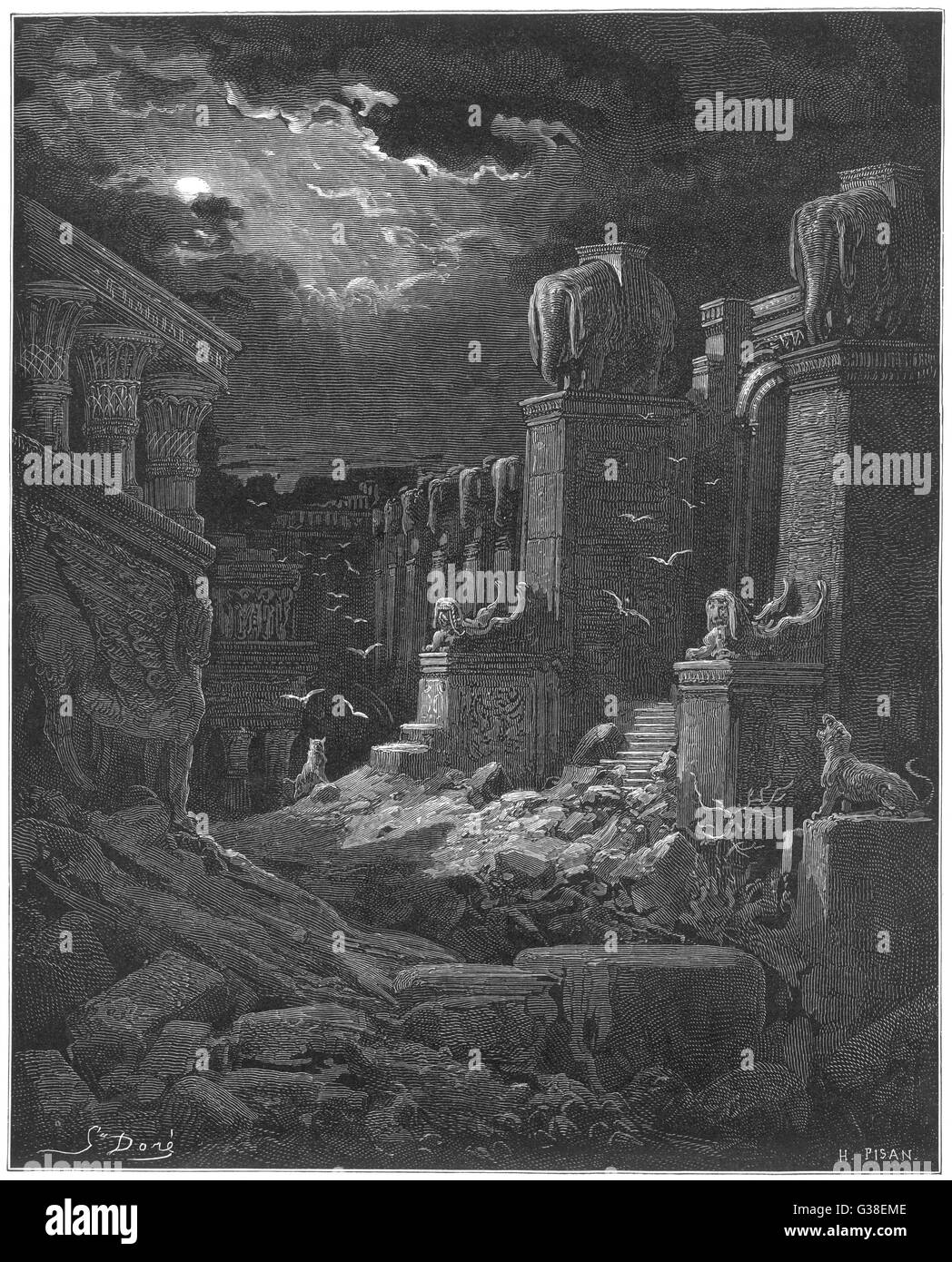 'Babylon the Great is fallen,  is fallen, and is become the  habitation of devils, and the  hold of every foul - Stock Image