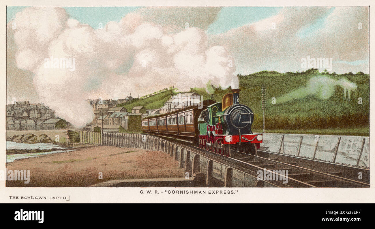 The 'Cornishman' express of  the Great Western Railway  carries passengers from  London to Cornwall (and - Stock Image