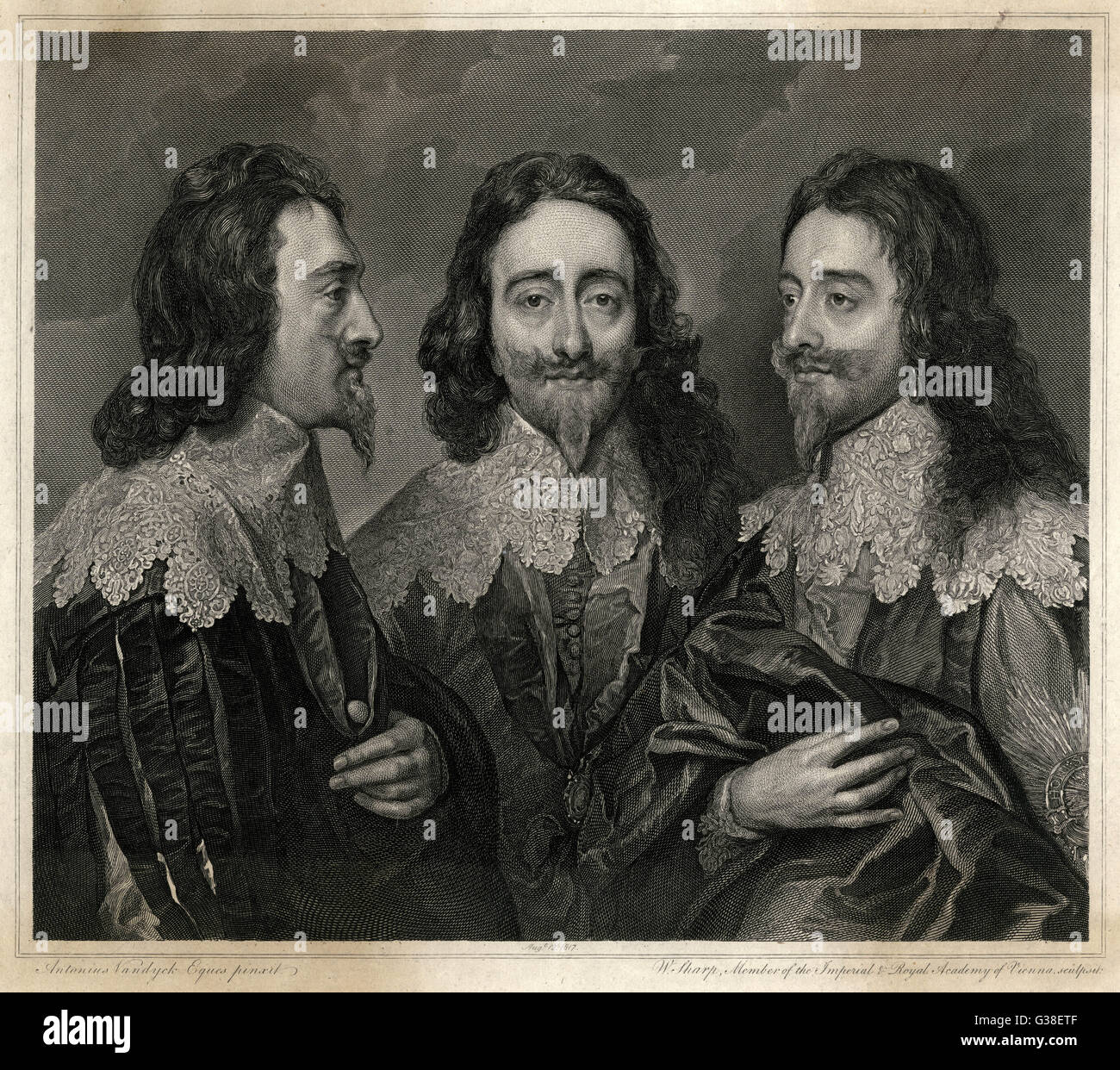 CHARLES I OF ENGLAND  'The triple Portrait of  Charles I'       Date: 1600 - 1649 - Stock Image