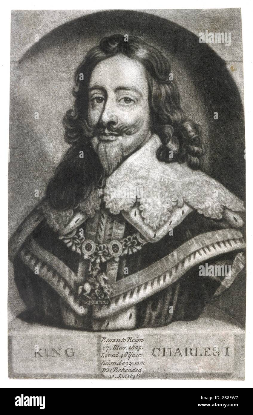 CHARLES I OF ENGLAND  in his regalia        Date: 1600 - 1649 - Stock Image