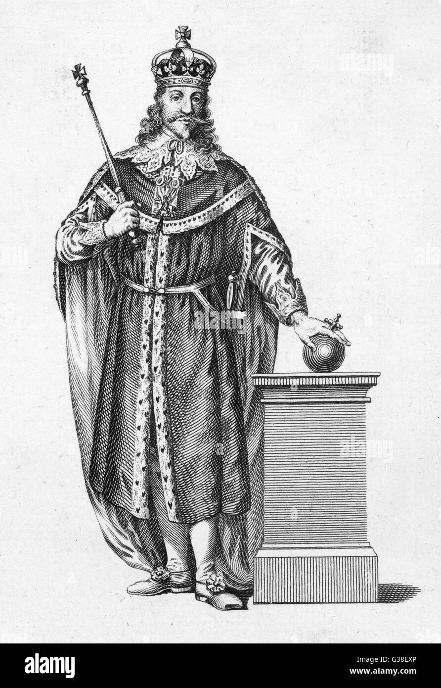 CHARLES I OF ENGLAND  in full regalia        Date: 1600 - 1649 - Stock Image