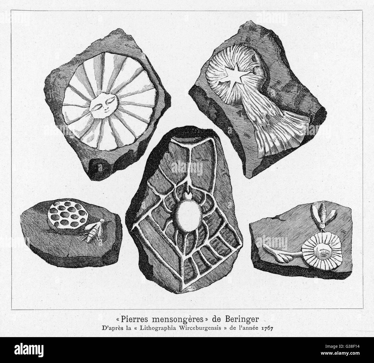 BERINGER'S LYING STONES Beringer (d.1740) a scholar of  Wurzburg, was taken in by stones apparently bearing - Stock Image