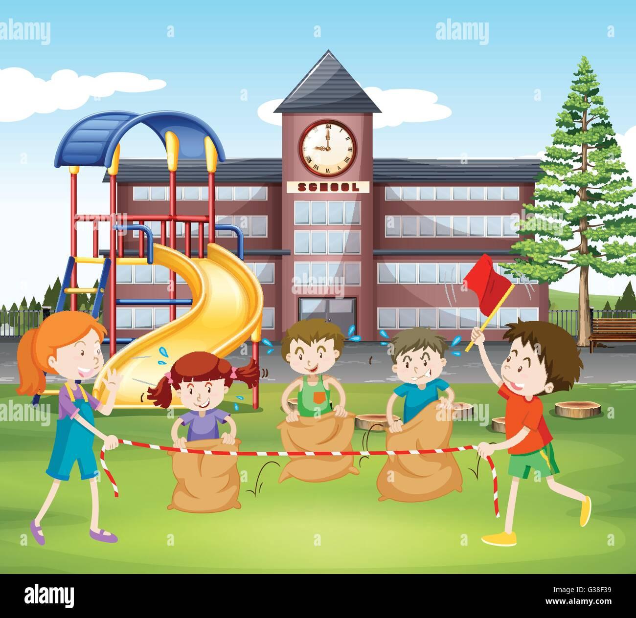 Children jumping sacks at school illustration - Stock Vector