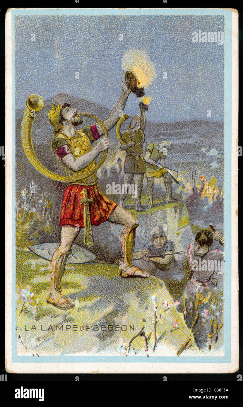 Gideon, 5th Judge of Israel,  equips his army with lamps  covered with a pitcher, to  frighten their Midianite  - Stock Image